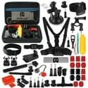 PULUZ 53 in 1 Accessories Total Ultimate Combo Kits with EVA Case (Chest Strap + Suction Cup Mount + 3-Way Pivot Arms + J-Hook Buckle + Wrist Strap + Helmet Strap + Extendable Monopod + Surface Mounts + Tripod Adapters + Storage Bag + Handlebar