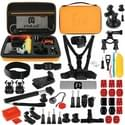 PULUZ 53 in 1 Accessories Total Ultimate Combo Kits with Orange EVA Case (Chest Strap + Suction Cup Mount + 3-Way Pivot Arms + J-Hook Buckle + Wrist Strap + Helmet Strap + Extendable Monopod + Surface Mounts + Tripod Adapters + Storage Bag + Ha