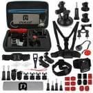 PULUZ 45 in 1 Accessoires Ultieme Combo Kit heeft EVA hoes / case(borstband + Zuignap Houder + 3-wegs scharnierarmen + J-haak houder + Polsband + Helm + Band  Statief Adapters + Opbergtas + stuurhouder