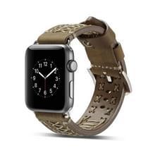 Mode Weave lederen pols horloge Band voor Apple Watch serie 3 & 2 & 1 42mm (lichtbruin)