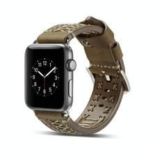 Mode Weave lederen pols horloge Band voor Apple Watch serie 3 & 2 & 1 38mm (lichtbruin)