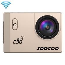 SOOCOO C30 2.0 inch scherm 4K 170 graden beeldhoek WiFi Sport Actiecamera camcorder met waterdichte behuizing, ondersteunt 128GB Micro SD kaart, rood licht duik compensatie, Voice Prompt, Gyroscoop Anti-shake, HDMI uitgang(Goud)