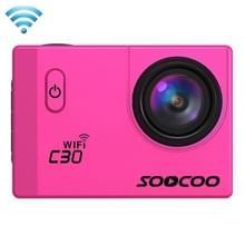 SOOCOO C30 2.0 inch scherm 4K 170 graden beeldhoek WiFi Sport Actiecamera camcorder met waterdichte behuizing, ondersteunt 128GB Micro SD kaart, rood licht duik compensatie, Voice Prompt, Gyroscoop Anti-shake, HDMI uitgang(hard roze)