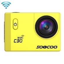 SOOCOO C30 2.0 inch scherm 4K 170 graden beeldhoek WiFi Sport Actiecamera camcorder met waterdichte behuizing, ondersteunt 128GB Micro SD kaart, rood licht duik compensatie, Voice Prompt, Gyroscoop Anti-shake, HDMI uitgang(geel)