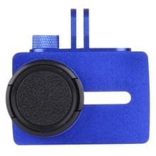 Voor Xiaomi Xiaoyi Yi II Sport actie Camera aluminiumlegering huisvesting beschermings hoesje met Lens beschermings Cap (donker blauw)