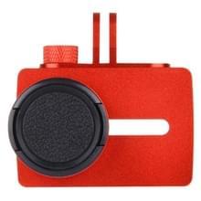 Voor Xiaomi Xiaoyi Yi II Sport actie Camera aluminiumlegering huisvesting beschermings hoesje ontmoette Lens beschermings Cap(rood)