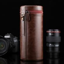 Extra grote Lens geval met rits PU leder Pouch vak voor DSLR cameralens  maat: 24.5*10.5*10.5cm(Coffee)