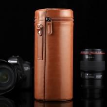 Extra grote Lens geval met rits PU leder Pouch vak voor DSLR cameralens  maat: 24.5*10.5*10.5cm(Brown)