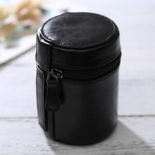 Kleine Lens geval met rits PU leder Pouch vak voor DSLR cameralens  maat: 11*8*8cm(Black)