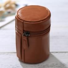Kleine Lens geval met rits PU leder Pouch vak voor DSLR cameralens  maat: 11*8*8cm(Brown)