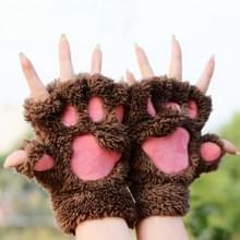 Winter Lovely Cartoon kat klauw Lady handschoenen dik Warm pluizig poten halve vinger Gloves(Coffee)