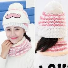 Winter baard patroon bescherming voor het gezicht masker + sjaal Beanies  dames Cashmere gebreide muts  volwassen Style(White)