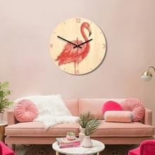 Flamingo patroon Home Office slaapkamer decoratie houten dempen Wandklok  grootte: 28cm