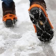 Één paar 8 tanden antislip ijs Gripper Wandelen klimmen ketting schoenen Covers(Orange)