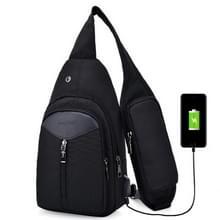 Draagbare rugzak Casual Outdoor Unisex schoudertassen driehoek Design Crossbody zakken Outdoor sporten rijden schoudertas met externe USB-opladen Interface en hoofdtelefoon Plug(Black)