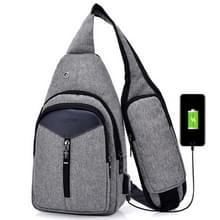 Draagbare rugzak Casual Outdoor Unisex schoudertassen driehoek Design Crossbody zakken Outdoor sporten rijden schoudertas met externe USB-opladen Interface en hoofdtelefoonstekker (antraciet)