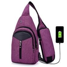 Draagbare rugzak Casual Outdoor Unisex schoudertassen driehoek Design Crossbody zakken Outdoor sporten rijden schoudertas met externe USB-opladen Interface en hoofdtelefoon Plug(Purple)