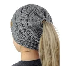 CC brief paardenstaart Cap muts breien voor Ladies(Grey)