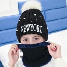 Winter nieuwe stijl wol dames sjaal Hat pak  dik en Warm wol voor kleuraanpassing sjaal gebreid Hat(Black)