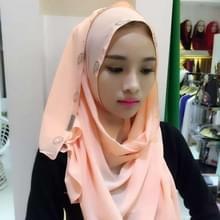 Mode parel Chiffon Strass verborgen gesp vrouwelijke sjaal Hui nationaliteit volkse stijl Hijab moslim sjaal (Champagne goud)