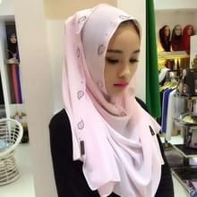 Parel Chiffon Strass verborgen gesp vrouwelijke sjaal Hui nationaliteit volkse stijl Hijab moslim Scarf(Pink) mode