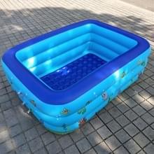 Huishoudelijke kinderen 1 5 m drie lagen rechthoekige afdrukken opblaasbare zwembad  grootte: 150 * 110 * 50 cm