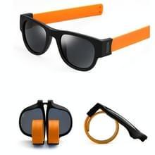 Nieuwe mode Crimp opklapbare spiegel knalt gepolariseerde zonnebril Casual UV400 bescherming bril voor mannen / Women(Orange)