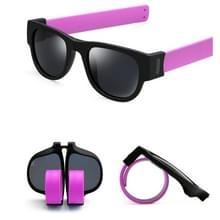 Nieuwe mode Crimp opklapbare spiegel knalt gepolariseerde zonnebril Casual UV400 bescherming bril voor mannen / Women(Purple)