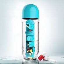 600ml creatieve buiten draagbare waterfles met 7 dagen pil Box(Blue)