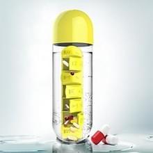 600ml creatieve buiten draagbare waterfles met 7 dagen pil Box(Yellow)