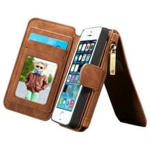 CaseMe voor iPhone SE & 5s & 5 multifunctionele lederen Billfold met afneembare magnetische PC beschermende geval & 13 Card Slots & 1 foto Frames & 1 rits portemonnee & 2 magnetische slotjes & Holder(Brown)