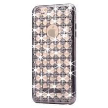 Voor iPhone 6 & 6s Agate & Diamond Encrusted galvaniseren TPU beschermende terug Cover Case(Black)