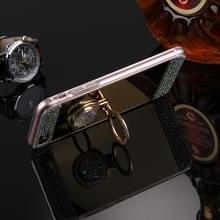 iPhone 7 met nep diamanten ingelegd spiegelend TPU back cover Hoesje met verborgen ring houder (goudkleurig)