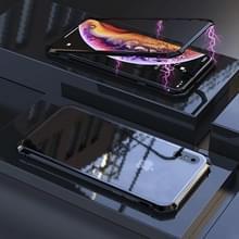 Ultra dunne magnetische adsorptie hoekige Frame gehard glas magneet Flip Case voor iPhone XS Max (zwart)