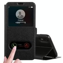 Zijde textuur horizontale Flip Leather Case for iPhone XR  met houder & oproep Display ID (zwart)