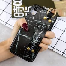 Marmeren patroon Shockproof TPU Case voor iPhone XR  met armband & Holder(Black)