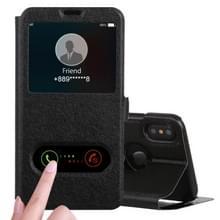 Zijde textuur horizontale Flip Leather Case voor iPhone XS / X  met houder & oproep Display ID (zwart)