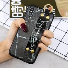 Marble Pattern Shockproof TPU Case voor iPhone X / XS  met armband & houder (zwart)