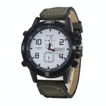 3 pak geval ronde wijzerplaat lederen riem Canvas horloge (kleur: wit en donkergroen)