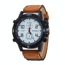 3 pak geval ronde wijzerplaat lederen riem Canvas horloge (kleur: wit en Khaki)