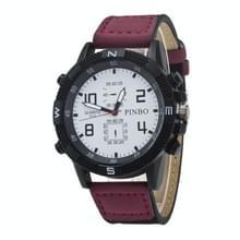 3 pak geval ronde wijzerplaat lederen riem Canvas horloge (kleur: wit en paars)