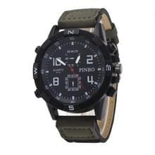 3 pak geval ronde wijzerplaat lederen riem Canvas horloge (kleur: zwart en groen)