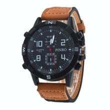 3 pak geval ronde wijzerplaat lederen riem Canvas horloge (kleur: zwart en Khaki)