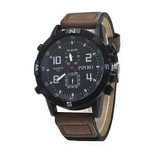 3 pak geval ronde wijzerplaat lederen riem Canvas horloge (kleur: zwart en donkere koffie)