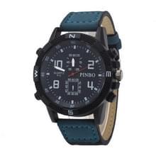 3 pak geval ronde wijzerplaat lederen riem Canvas horloge (kleur: Black And Blue)