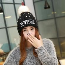Winter nieuwe stijl wol dames hoed  kleur Matching dik en Warm wol gebreid Hat(Black)