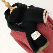 Effen kleur dik Warm gebreid wollen sjaal  grootte: 40 * 20.5cm(Black)