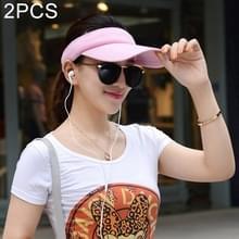2 PC's lichtgewicht en comfortabel Visor Cap voor vrouwen in openlucht Golf Tennis met joggen verstelbare riem (roze)