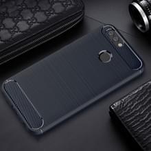 Voor Huawei nova 2 Carbon Fiber TPU geborsteld textuur Shockproof beschermende terug Cover Case(navy)