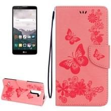 LG Stylus 2 horizontaal 3D Vlinders patroon PU leren Flip Hoesje met draagriem  houder en opbergruimte voor pinpassen & geld (roze)